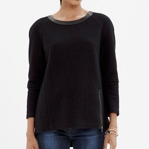 Madewell Leather Trim Wool Sweatshirt Black
